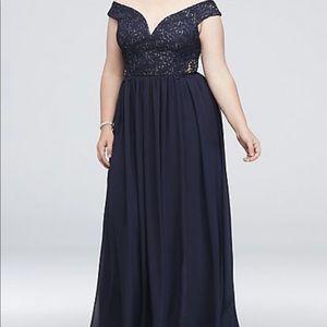 Navy Blue Plus Size Floor Length Dress